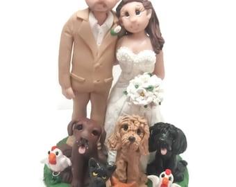 Custom cake topper, Animal Lovers wedding cake topper, Bride and Groom cake topper, Mr and Mrs cake topper, personalized cake topper