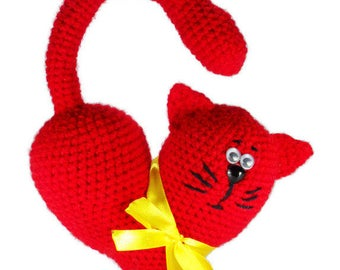 Valentines day gift for wife/boyfriend/mom Crochet heart cat Ornament gift for her cat Valentines gift kids toy Heart Romantic gift for girl
