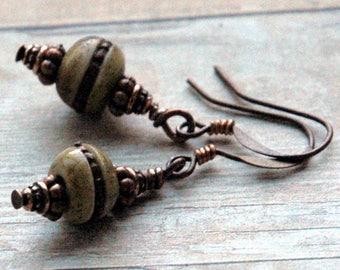 Pretty Earrings, Tibetan Mandala Prayer Beads, Copper Inlay Detail, Boho Style Drop Earrings, Casual Design for Everyday Wear