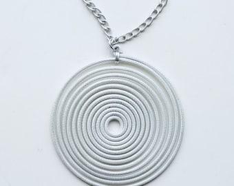 1960s mega silver swirl hypnotize necklace / 60s vintage pop art giant spiral pendant chunky statement necklace