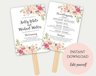 Fan Program Template, Fan Wedding Program, Ceremony Program, Printable Wedding Program, Order Of Ceremony, Editable Wedding Program, PDF, C1