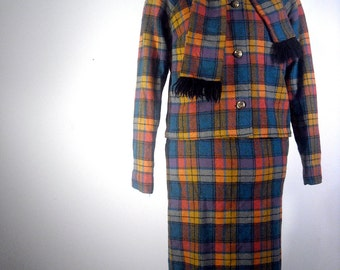 Plaid Wool Skirt Suit // 1960s Outfit // Vintage Junior House Milwaukee  // Mad Men Outfit // Womens Halloween Costume