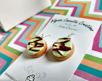Chocolate Mint Green Frosted Donut Earrings