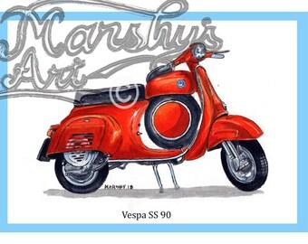 Vespa SS 90 Classic scooter art print by Marshys Art.