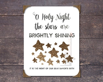 "O Holy Night, The Stars are Brightly Shining (Christmas carol lyrics) with Stars and Gold Glitter Effect on Text - 5""x7"" Printable Artwork"