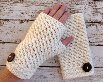 Ivory Women's Fingerless Gloves, Off White Winter Gloves, Ladies Wrist Warmers