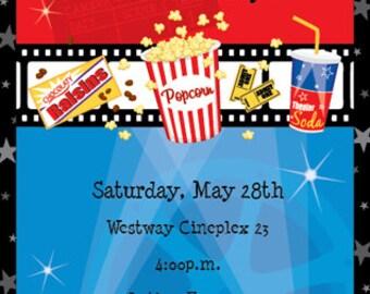 Movie Night Party Invitation, Birthday Bash Family Party, New Release Party, Cinema, Celebration, Original Digital Invitation, ISN734