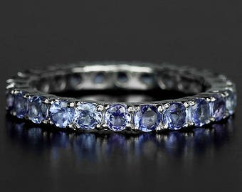 Edwardian Flapper Downton Abbey Jewelry 14k White Gold Vermeil Tanzanite Art Deco style Full Band Ring (USA 5.75, UK L) - Truly Venusian
