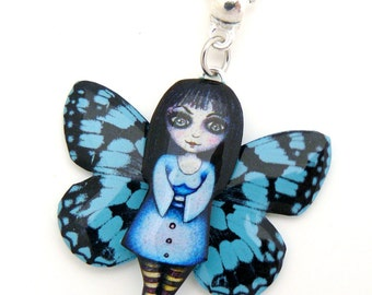 Pendant blue witch fairy