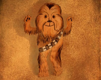 Cute Chewbacca illustration - Giclee Print