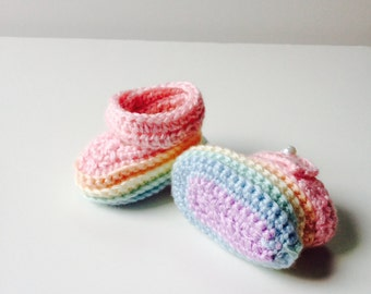 Rainbow Baby Booties Baby Girl Pastel Shoes