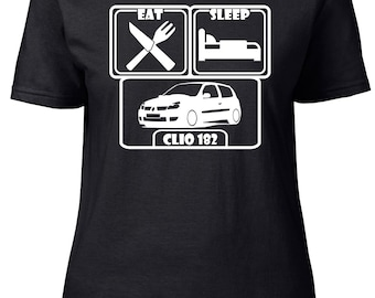 Eat. Sleep. Clio 182. Ladies semi-fitted t-shirt.