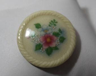 Vintage AVON Ceramic Floral Brooch
