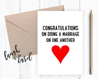 Marriage, engagement, mr and mrs card, congratulations card, congratulations, funny wedding card, wedding cards, doing a marriage