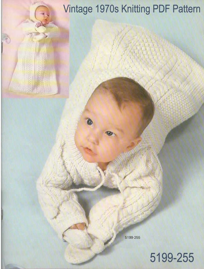 Knitting Pattern Vintage 1970s Baby Sleeping Bag with Hood