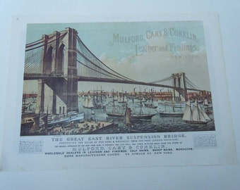 Great East River Suspension Bridge / Currier and Ives Stagecoach  Vintage Advertising Poster Size Book Plate