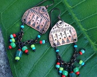 MADE TO ORDER, Copper Tribal Gypsy Dangle Earrings