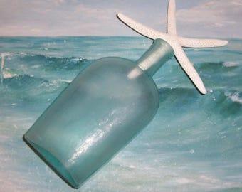 ANTIQUE, Vintage Aqua OCEAN Found SEAGLASS Strap Sided Flask Liquor Bottle