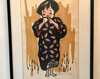 "Kiyoshi Saito ""Girl"" Woodblock Print"