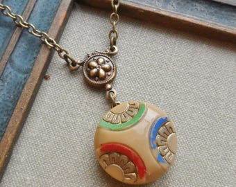 Art Deco, Tan, Red, Green and Blue, Vintage Glass Button Necklace, Flower Design, Geometric