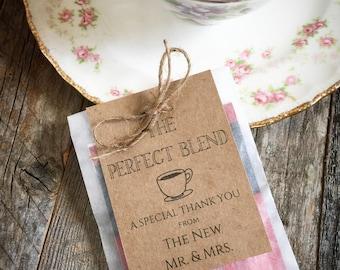 Tea Bag Favors Wedding Favor Vintage Style Tea Perfect Blend Tea Bag Favor Personalized