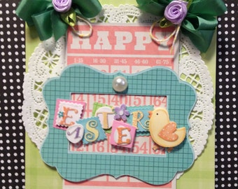Easter Card, Vintage Style, Handmade Card, Embellished Card,Greeting Card
