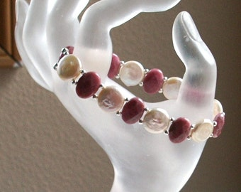 Stretch Bracelet Double Drilled Pearls and Rhodonite with Sterling Silver Beads