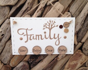 Personalised Handmade Family Tree Rustic Plaque Sign