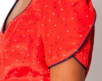 The Vintage Red Heart Polka Dot Flare Blouse