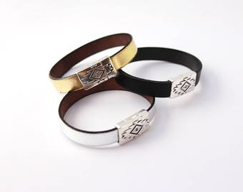 Silver leather Aztec magnetic Bracelet - woman Christmas gift