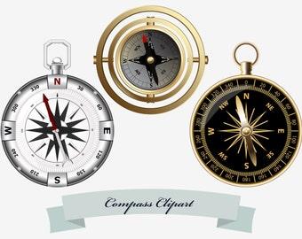 Compass clip art, vintage compass, marine compass, modern compass, scrapbooking Clip Art, INSTANT DOWNLOAD, PNG