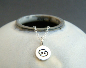 tiny silver Cancer necklace. small sterling silver zodiac star sign astrological astrology symbol pendant. simple charm everyday jewelry 3/8