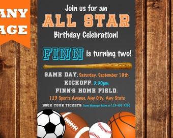 All Sports Birthday Invitation, Sports Birthday Invitation, All Star Sports Birthday Invitation, All- Star invitation, All-Star Birthday