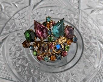 Czech Glass Crown Brooch
