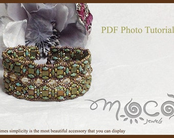 DIY Photo Tutorial Eng-ITA *Jasmine*Bracelet,PDF Pattern 15 with Tila, Superduo,swarovski and seed beads,instructions,beadweaving