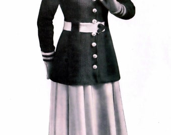 PDF Knit Sweater Coat Crochet O Shanter Tam 1900's Vintage Bust 36 to 38 Inches Instant Download Digital e-Pattern Download