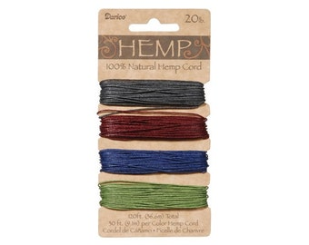 Hemp Cord Assorted Earthy Darks Color Set (  20 lb 120 feet )