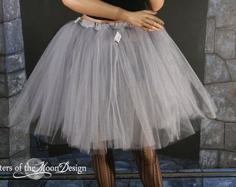 Adult tutu Silver Iridescent Romance Petticoat skirt extra poofy knee length formal bridal wedding -- You Choose size - Sisters of the Moon