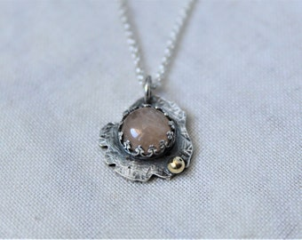 Oxidized Sterling silver, 14k yellow gold and Morganite Pendant with chain - jewelry necklace
