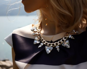 Camille - Elegant 18k Gold Plated Swarovski Crystals and Chain Statement Necklace - Ready to Ship