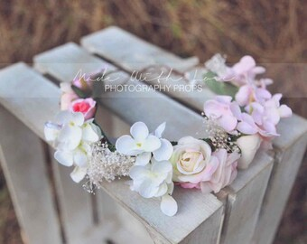 Blush Pink Flower Crown, Flower Crown, Baby's Breath Crown, Wedding Flower crown, Bridal Flower Crown, Boho Flower Crown, Flower Girl Crown