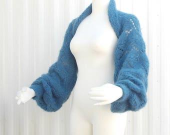 Hand Knit Shrug Sweater Jacket Balloon Long Sleeve Chunky Lace Wedgewood Blue