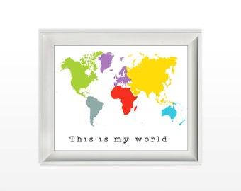 033 this is my world colorful world map modern wall art nursery wall print home decor