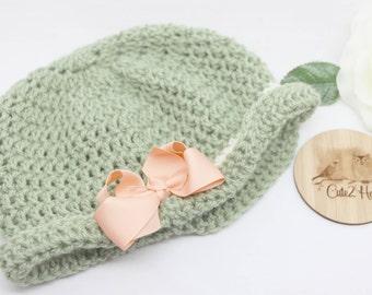 Crochet Beanie, Size 18 mths, Newborn Beanie, Baby Hat, Toddler Beanie, Olive, Cream, Bow
