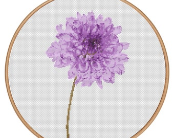 MORE for FREE - Dahlia Purple - Counted Cross stitch pattern PDF - Instant Download - Cross Stitch Pattern - Flowers-Love- Needlepoint #1506