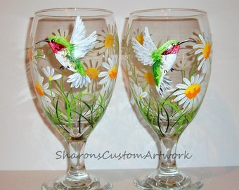 Hand Painted Tea Glasses or Wine Glasses Hummingbird & Daisies Set of 2 - 16 oz Mothers Day Christmas Gift White Daisy Flowers Ice Tea Glass