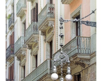 hanging street lamps, Barcelona, Spain, pink, white, shutters, Spain home decor, travel photography, Europe art print, Spanish architecture
