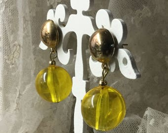 Citrusy Yellow Lucite Drop Earrings Unsigned Pierced 1960's 1970's Mod Modern Dangling Day Wear Fun Funky Round Bead Gold Tone Posts
