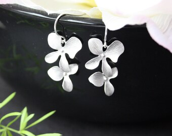 Double Orchid flower earrings - Silver or Gold,  Birthday anniversary gift, wedding bridal jewelry, bridesmaid gifts favor, two orchids