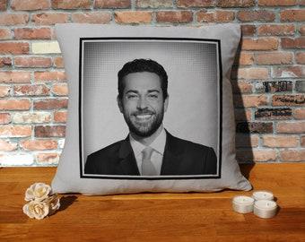 Zachary Levi Pillow Cushion - 16x16in - Grey